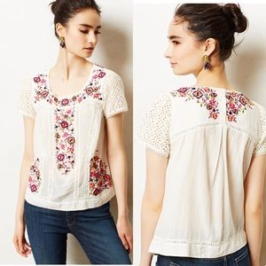 Anthropologie Maeve Pernetiana Embroidered Top 2